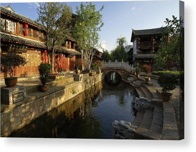 Asia Acrylic Print featuring the photograph Morning Comes to Lijiang Ancient Town by Michele Burgess