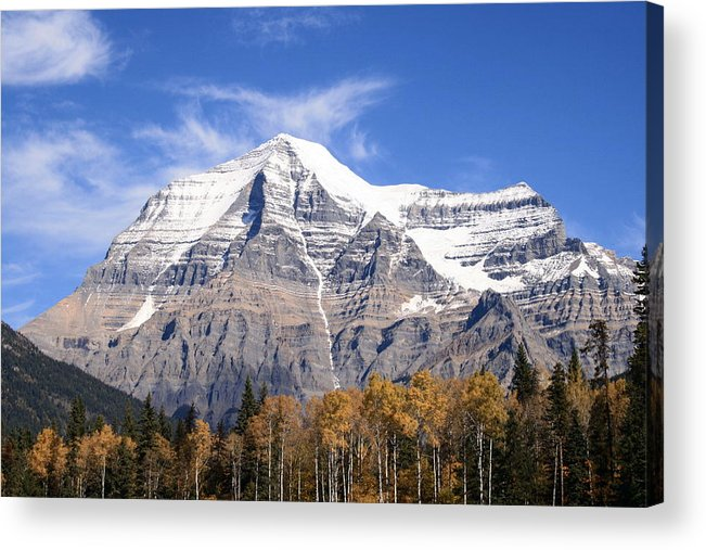 Rocky Mountain Acrylic Print featuring the photograph Mt. Robson- Canada's Tallest Peak by Tiffany Vest