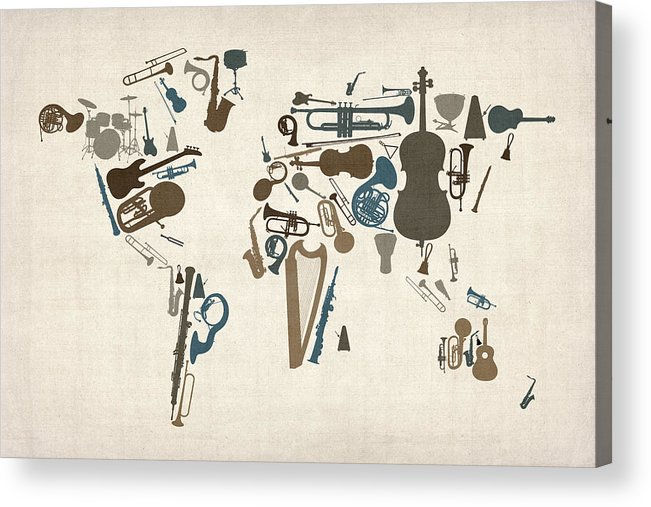 World Map Acrylic Print featuring the digital art Musical Instruments Map of the World Map by Michael Tompsett