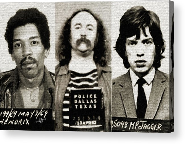 Jimi Hendrix Acrylic Print featuring the painting Musical Mug Shots Three Legends Original Painting 2 Sepia by Tony Rubino