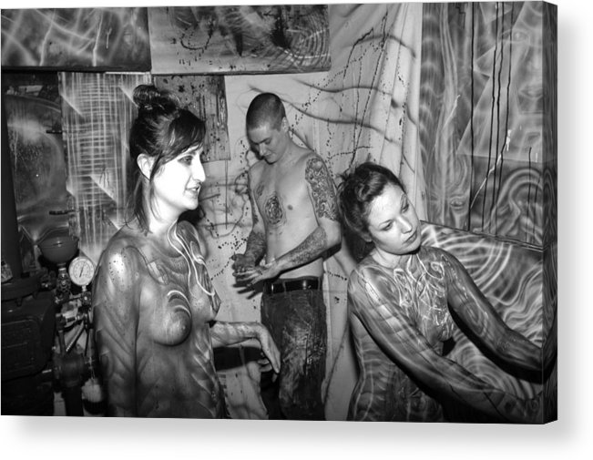 Body Paint Acrylic Print featuring the painting My Hands by Leigh Odom