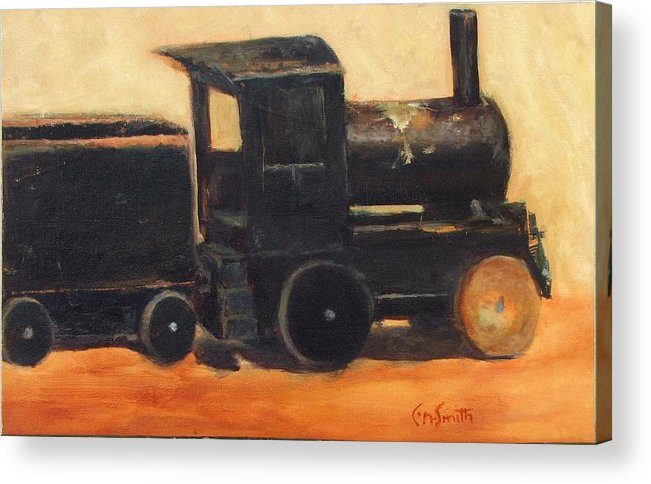 Trains Acrylic Print featuring the painting Old wood toy train by Chris Neil Smith
