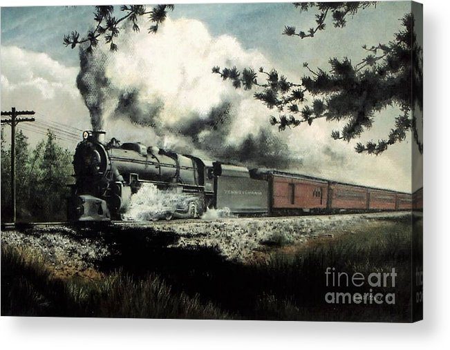 Pennsylvania Railroad Prr Train Painting Railroad Maryland And Pennsylvania Autumn Fall Colors Steam Engine Acrylic Print featuring the pastel Pennsy in the Pines by David Mittner