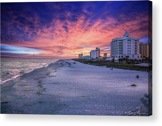 Brent Shavnore Pensacola Beach Sunset Emerald Coast Escambia County Acrylic Print featuring the digital art Pensacola Beach Vibrant Sunset by Brent Shavnore