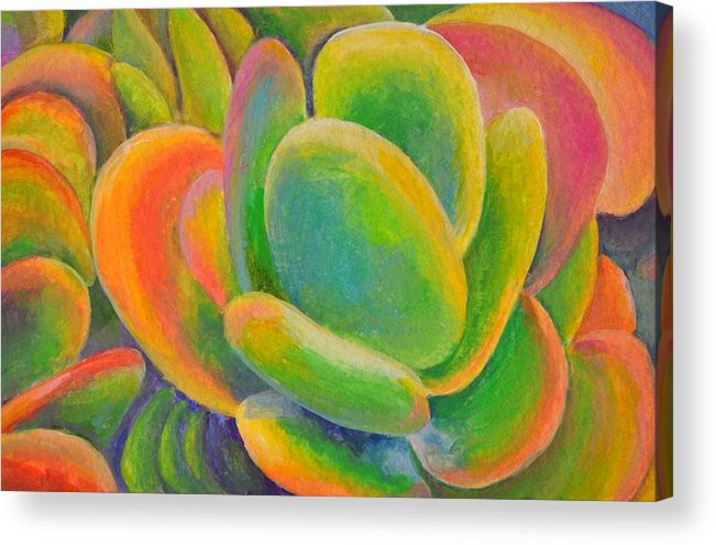 Acrylic Painting Acrylic Print featuring the tapestry - textile petales Multicolores by Muriel Dolemieux