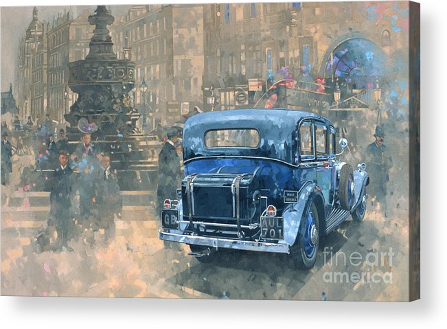 Rolls Royce; Car; Vehicle; Vintage; Automobile; Fountain; West End; London; Piccadilly Circus; London; Nostalgic; England; Classic Cars; Vintage Car; Old Timer; Classic Cars Acrylic Print featuring the painting Phantom in Piccadilly by Peter Miller