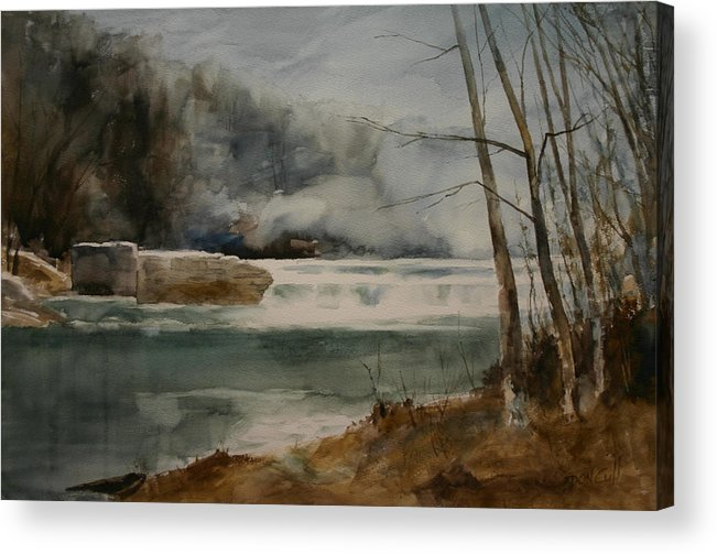 Landscape Acrylic Print featuring the painting Picketts Dam by Don Cull