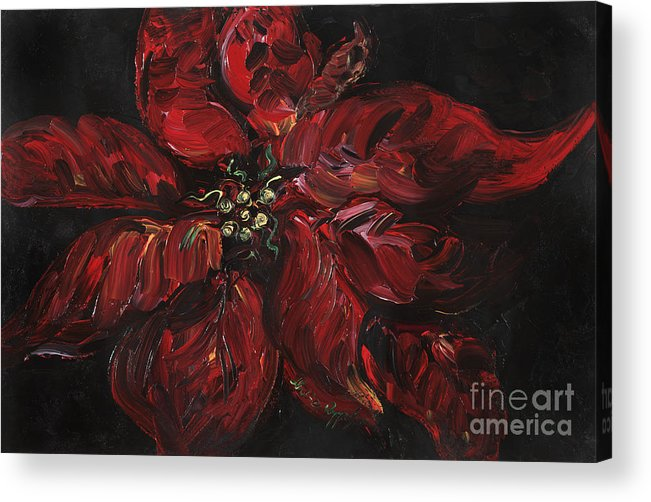Abstract Acrylic Print featuring the painting Poinsettia by Nadine Rippelmeyer