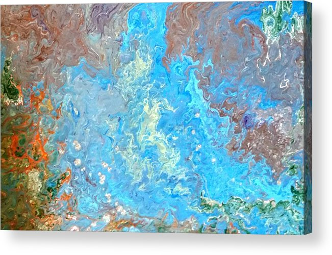 Acrylic Pour Acrylic Print featuring the painting Siskiyou Creek by Valerie Josi
