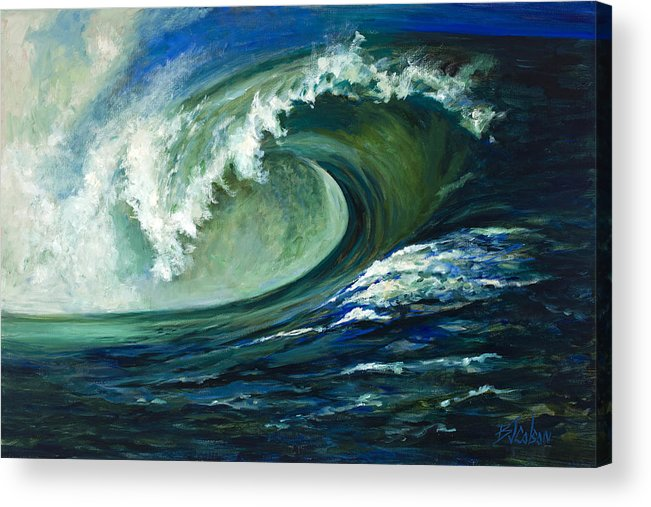 Waves Acrylic Print featuring the painting Power by Billie Colson