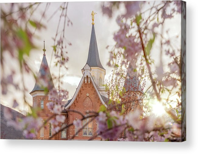 Provo City Center Utah Temple Acrylic Print featuring the photograph Provo City Center Temple Blossoms by Tausha Schumann