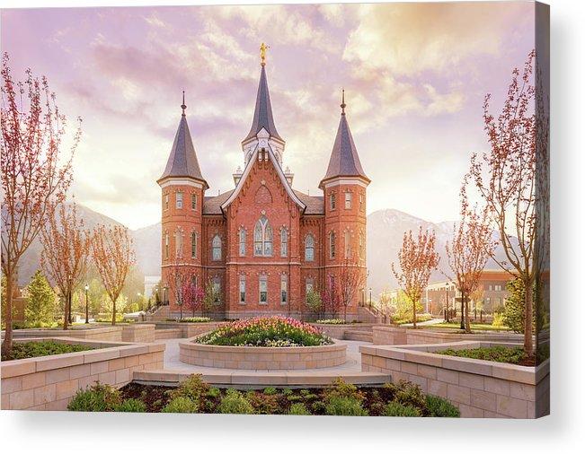 Provo City Center Utah Temple Acrylic Print featuring the photograph Provo City Center Temple Dawn by Tausha Schumann
