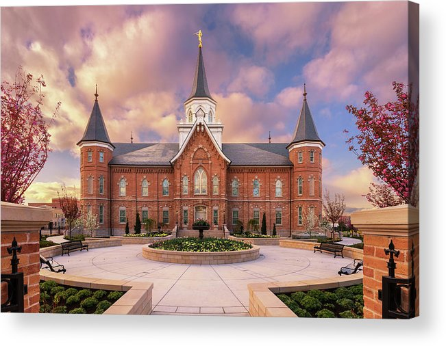 Provo City Center Utah Temple Acrylic Print featuring the photograph Provo City Center Temple in Spring by Tausha Schumann