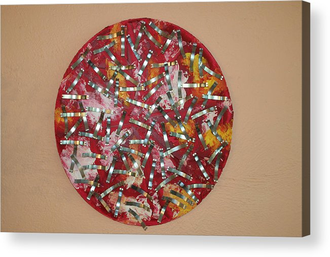Acrylic Print featuring the painting Red and Metal by Biagio Civale