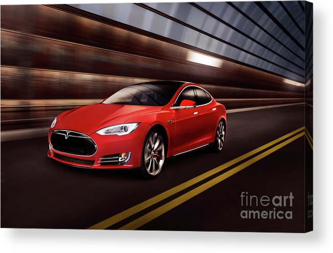 Tesla Acrylic Print featuring the photograph Red Tesla Model S Red Luxury Electric Car Speeding In A Tunnel by Maxim Images Prints