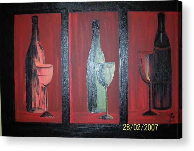 Stilllife Acrylic Print featuring the print Red wine by Martha Mullins