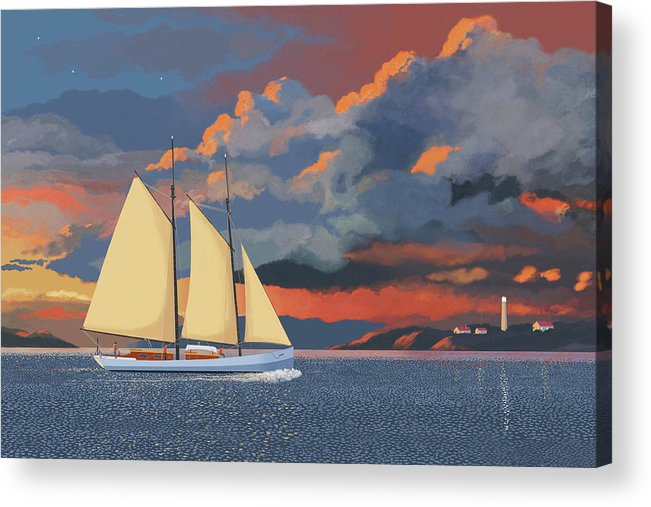 Schooner Yawl Sloop Ketch Sailing Sailor Ship Boat Freighter Sailing Ocean Sea Lake Stream River Cargo Storm Stormy Clouds Thunder Lightening Acrylic Print featuring the digital art Safe haven by Gary Giacomelli