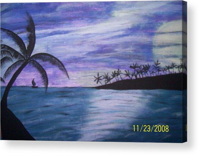 Palm Trees Acrylic Print featuring the painting Sail On by Paula Ferguson