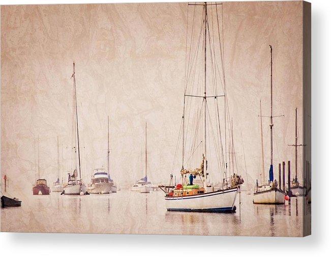 Sailboats Acrylic Print featuring the photograph Sailboats in Morro Bay Fog by Zayne Diamond Photographic