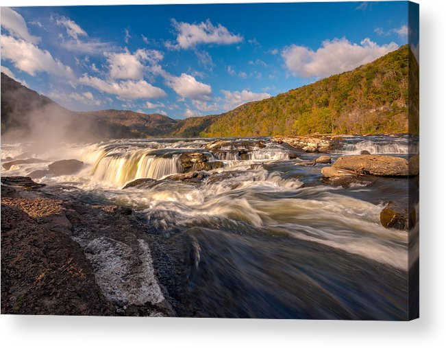Waterfalls Acrylic Print featuring the photograph Sandstone Falls New River Gorge by Rick Dunnuck