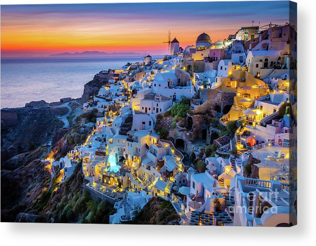 Aegean Sea Acrylic Print featuring the photograph Santorini Sunset by Inge Johnsson
