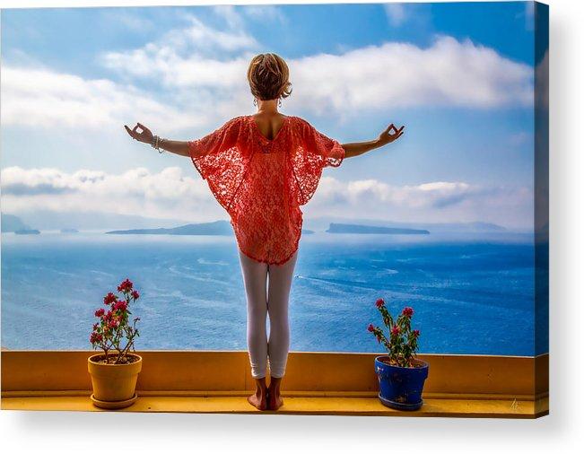 Santorini Acrylic Print featuring the photograph Santorini Yoga Goddess by Stuart Smith