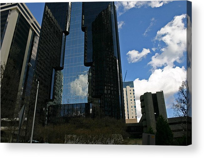 Dark Building Acrylic Print featuring the photograph See-through Building by Beebe Barksdale-Bruner
