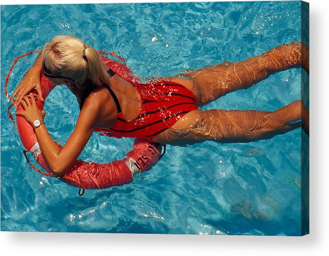 Swim Acrylic Print featuring the photograph Sexy Red Bikini by Carl Purcell