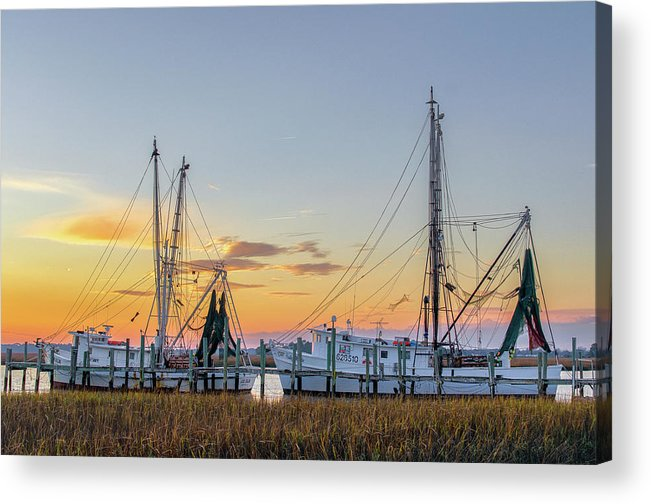 Abandoned Acrylic Print featuring the photograph Shrimp Boats by Drew Castelhano