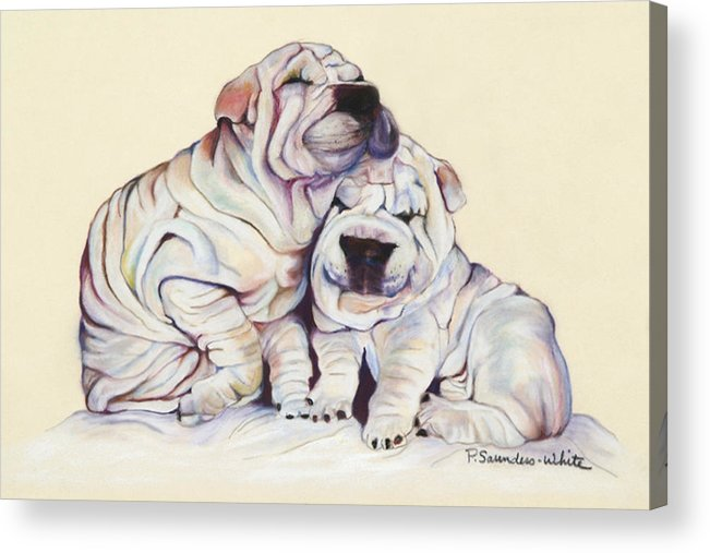 Dog Painting Acrylic Print featuring the pastel Snuggles by Pat Saunders-White