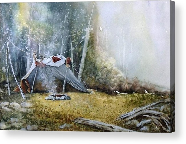 Tent Acrylic Print featuring the painting Spike Camp by Lynne Parker