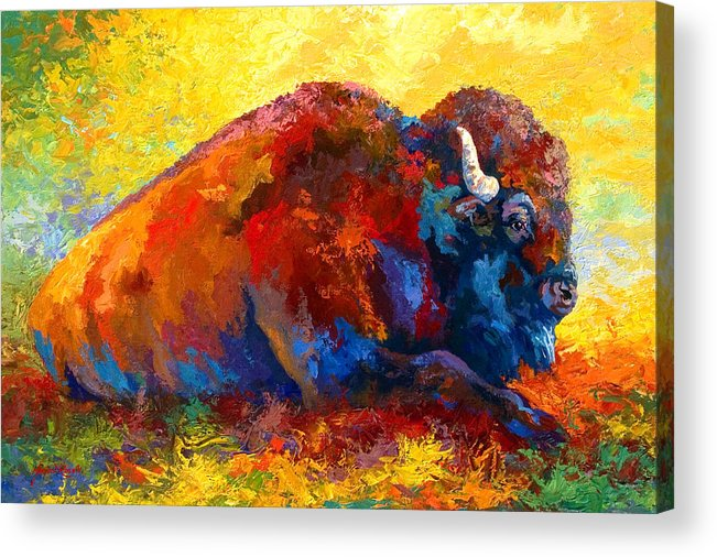 Wildlife Acrylic Print featuring the painting Spirit Brother by Marion Rose