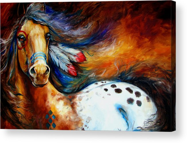 Horse Acrylic Print featuring the painting Spirit Indian Warrior Pony by Marcia Baldwin