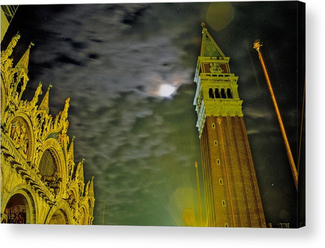 Venice Acrylic Print featuring the photograph St. Marks in Venice with Moon and Venus by Michael Henderson