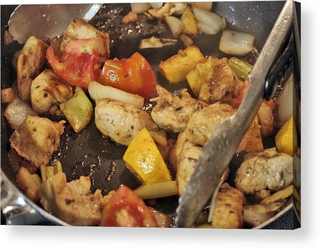 Meat Acrylic Print featuring the photograph Steamy Stirfry by Linda A Waterhouse