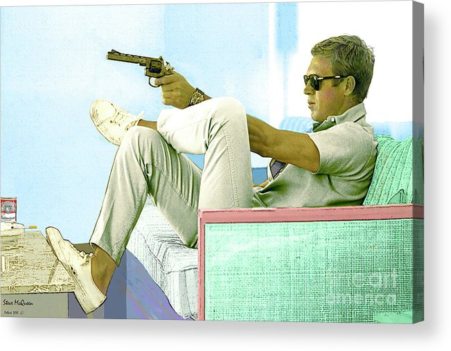 Steve Mcqueen Acrylic Print featuring the mixed media Steve McQueen, Colt revolver, Palm Springs, CA by Thomas Pollart
