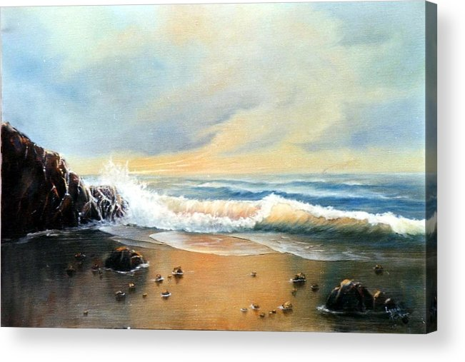 Seascape Acrylic Print featuring the painting Sunlit Beach by Lynne Parker