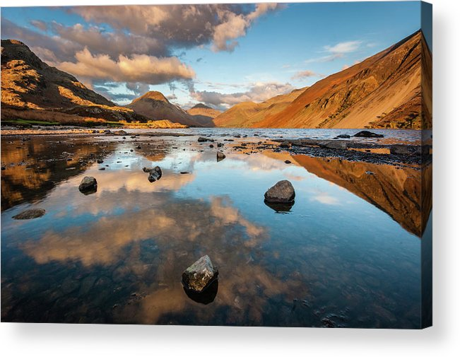 Sunrise Acrylic Print featuring the photograph Sunset at Wast Water #3, Wasdale, Lake District, England by Anthony Lawlor