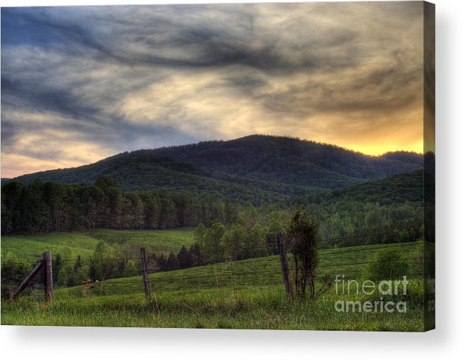 Landscape Acrylic Print featuring the photograph Sunset On Appleberry Mountain 2 by Pete Hellmann