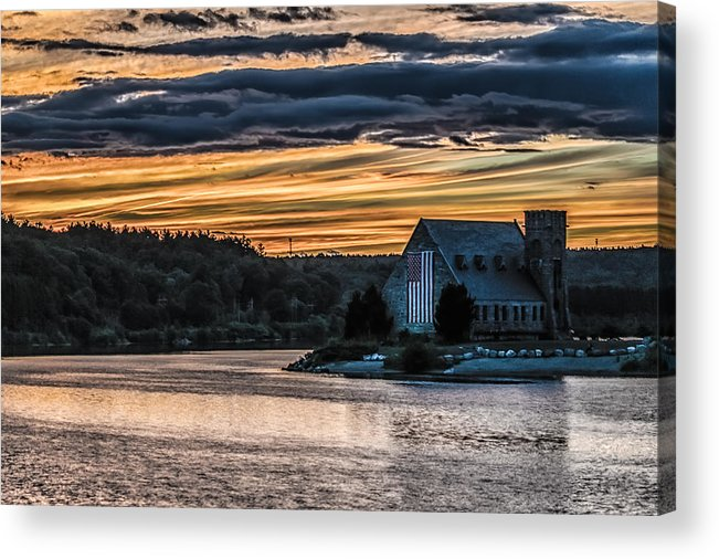 Landscape Acrylic Print featuring the photograph Sunset on The Old Stone Church by Bob Bernier