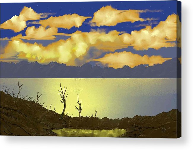 Sunset Acrylic Print featuring the digital art Surreal Sunset by Tony Rodriguez