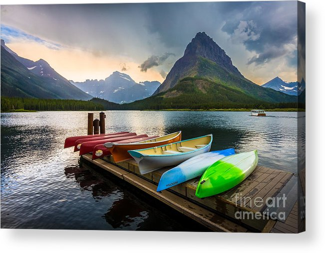 America Acrylic Print featuring the photograph Swiftcurrent Canoes by Inge Johnsson