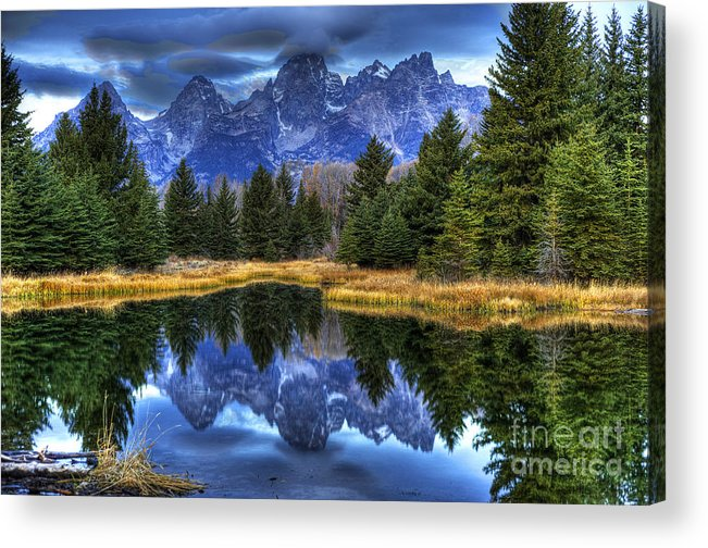 Places Acrylic Print featuring the photograph Teton Dawn Reflection by Dennis Hammer