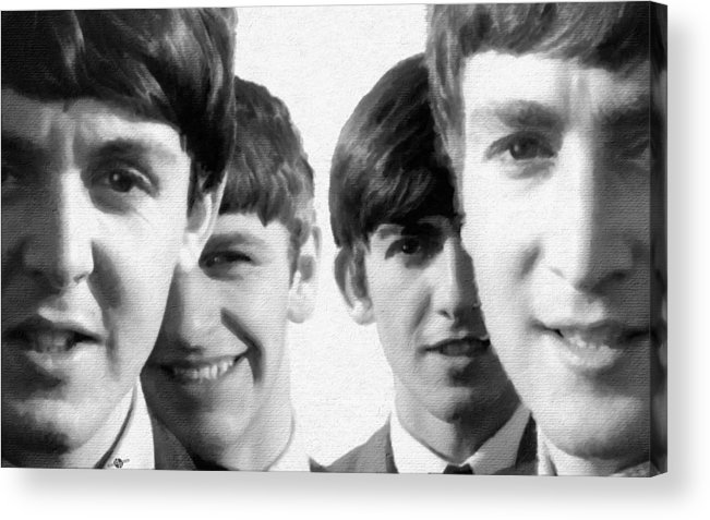 The Beatles Acrylic Print featuring the painting The Beatles Painting 1963 Black And White by Tony Rubino