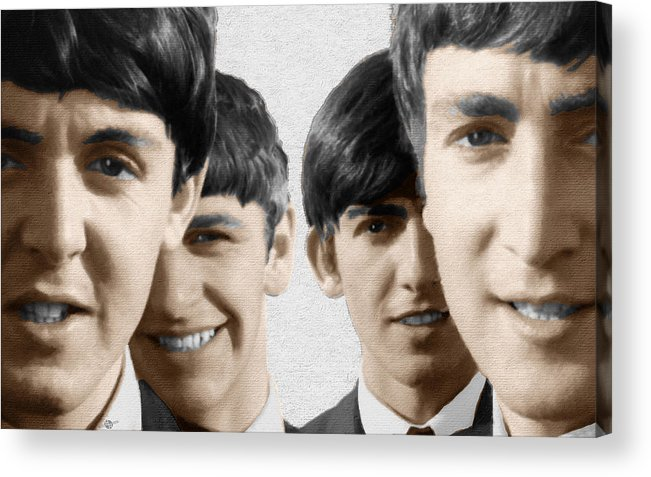 The Beatles Acrylic Print featuring the painting The Beatles Painting 1963 Color by Tony Rubino