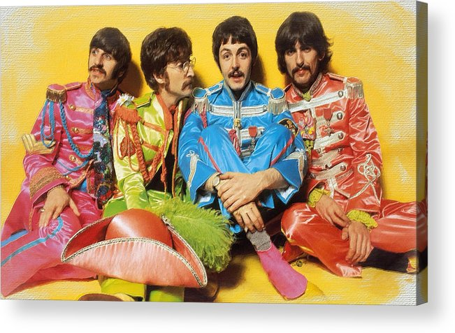 The Beatles Acrylic Print featuring the painting The Beatles Sgt. Pepper's Lonely Hearts Club Band Painting 1967 Color by Tony Rubino