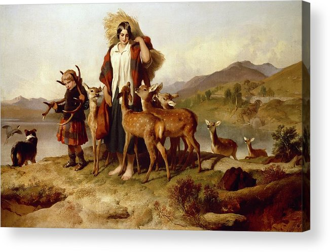 The Acrylic Print featuring the painting The Forester's Family by Sir Edwin Landseer