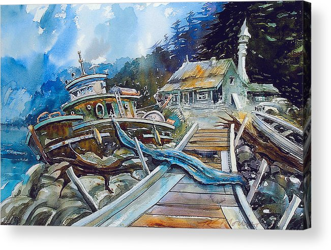Boat Acrylic Print featuring the painting The Last Bastion..on the Beach by Ron Morrison