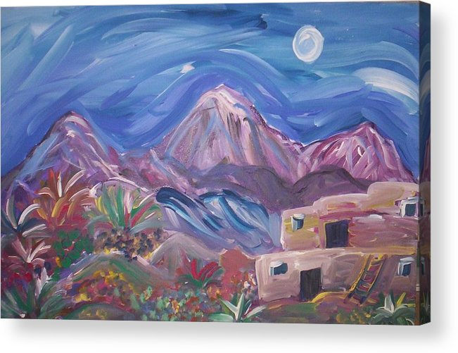 Midnight Acrylic Print featuring the painting The Moon and Me by Lindsay St john