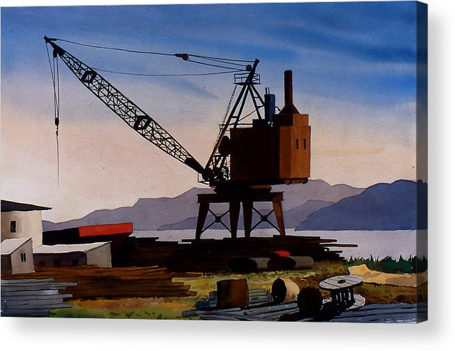 Crane Acrylic Print featuring the painting The OldCrane by Faye Ziegler